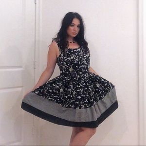 Taylor Black and White Fit & Flare Dress